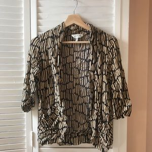 Black and Tan pattered shell blouse.